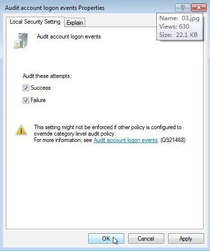 set an audit policy for an account lockout in windows 8