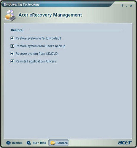 Acer eRecovery Mangement