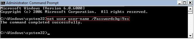 prevent user from changing password in windows vista