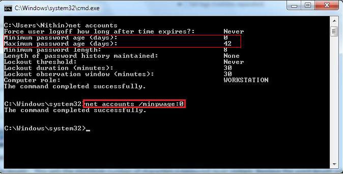 modify maximum password age in windows 8