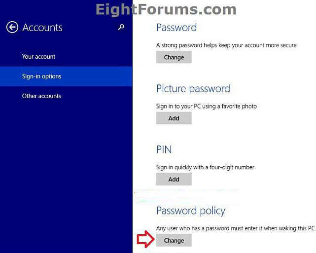 turn on password protection on wake up in windows 8.1