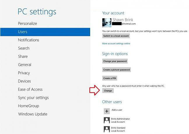 turn off password protection on in windows 8.1