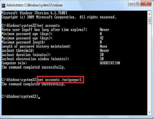 disable windows 8 password history enforcement