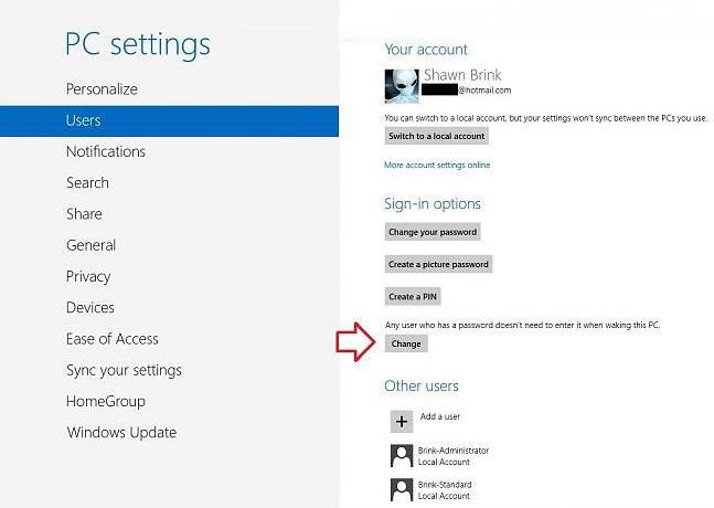 turn on password protection on wake up in windows 8