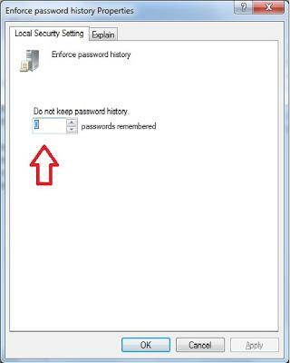 disable windows 7 password history enforcement