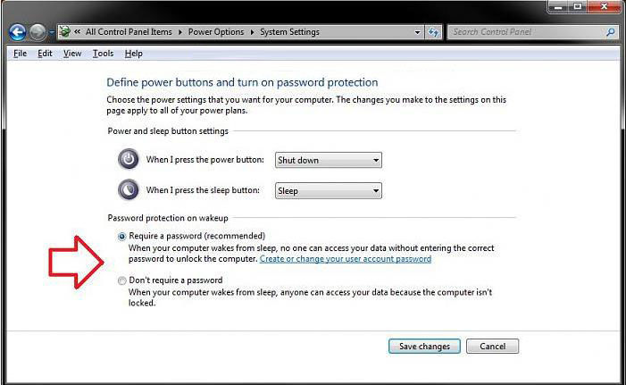 disable password protection on wakeup in windows 7