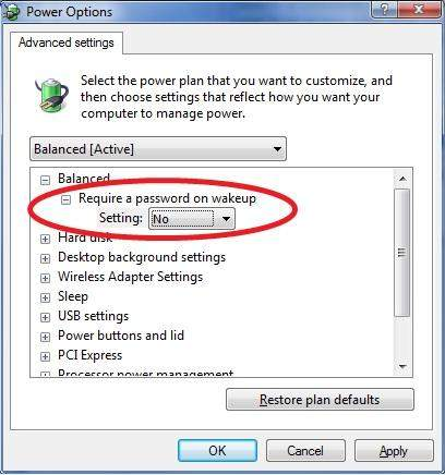 enable require password on wakeup in windows 7