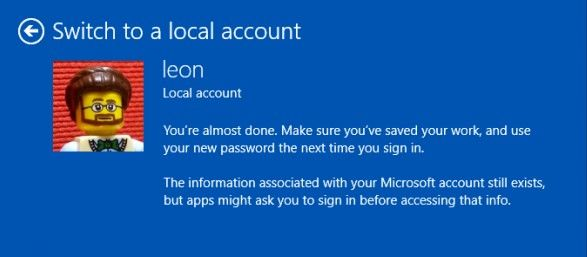 switch to a local account 2