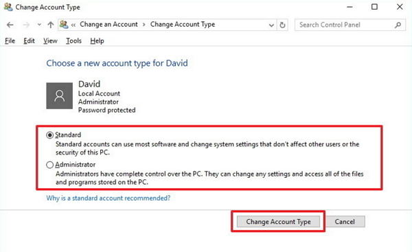 change standard user to administrator in windows 10