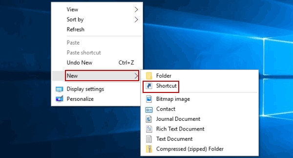 right click on desktop windows 10