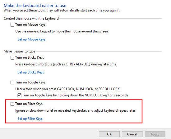 control keys not working windows 10