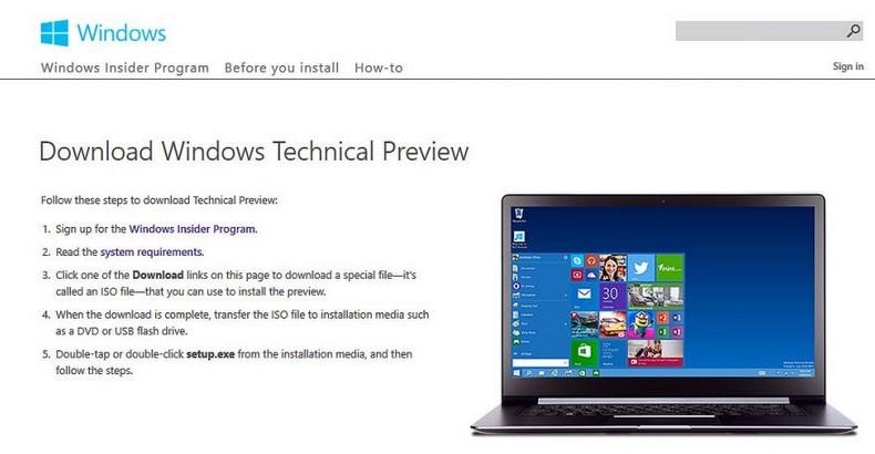 install windows 10 technical preview