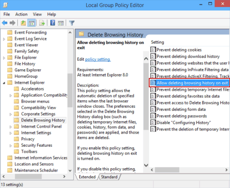 how to check and delete web browser history in windows 10 edge