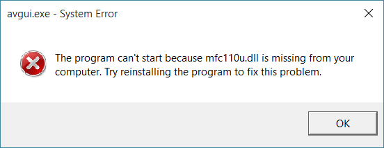 mfc110u.dll file is missing