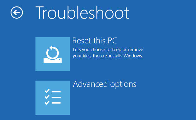 select reset this pc under troubleshoot