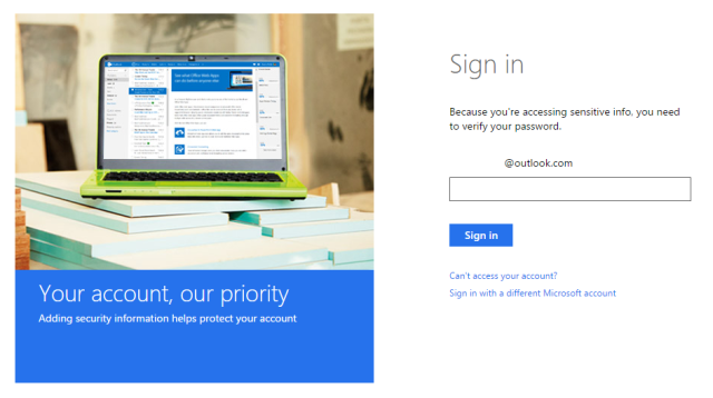 microsoft account sign in interface