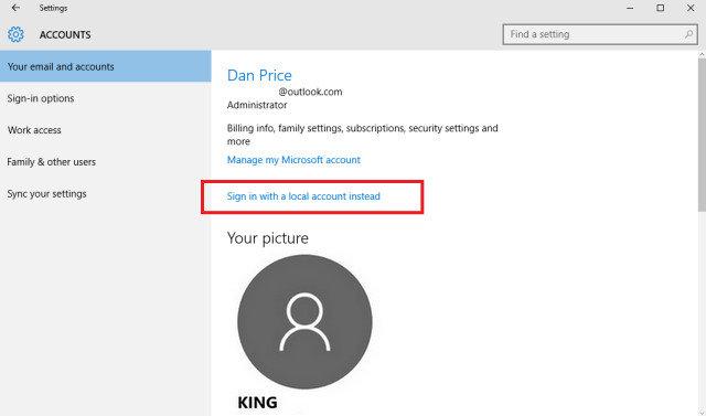 delete microsoft user account windows 10