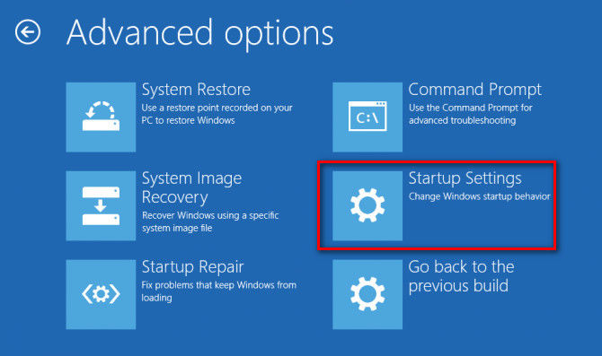 choose startup settings