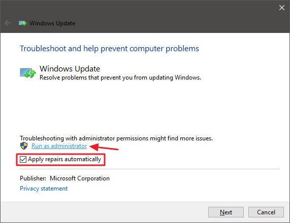 Windows 10 update run as administrator