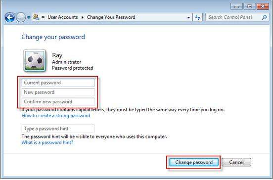 change your windows 7 password on a domain