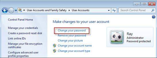 change your windows 7 password