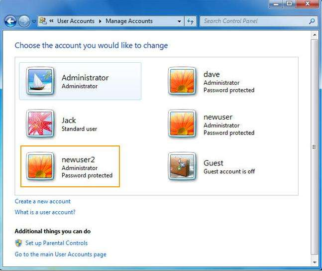 how to change another user's password in windows 7