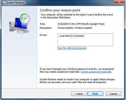 use system restore to reset windows 7 password