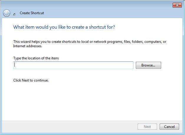 create a password reset wizard shortcut in windows 7