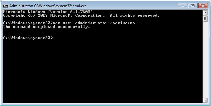 how to enable windows 7 default administrator account