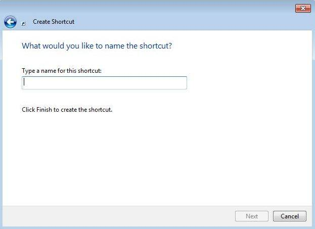 create a windows 7 password reset wizard shortcut