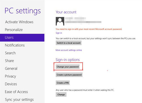 how to change microsoft account password in pc