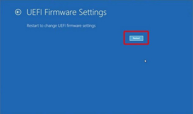 change uefi firmware settings
