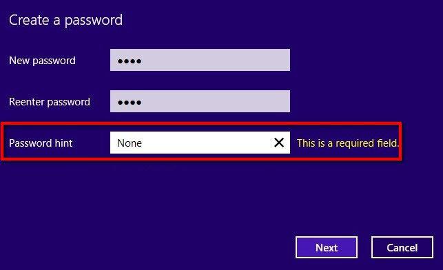 change passwords windows 8