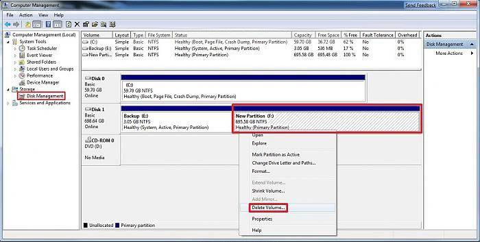 how to delete data on a partition in windows 8