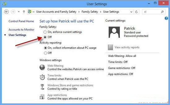 family safety not reporting pc activity