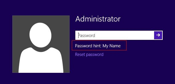 how to use windows 8.1 password hint