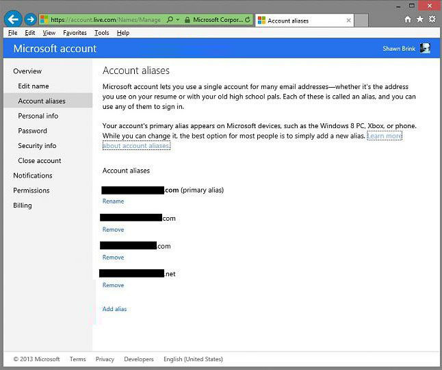 how to add an alias to hotmail