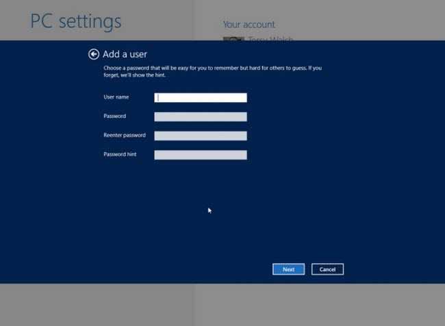create windows 8 local account