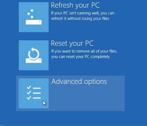 how to start windows 8 advanced startup option