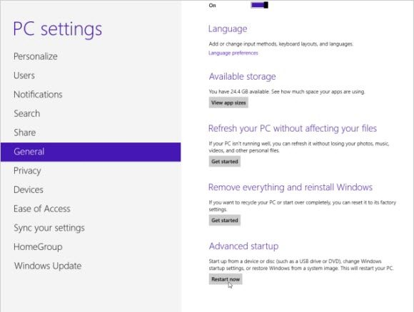 access windows 8 advanced startup option