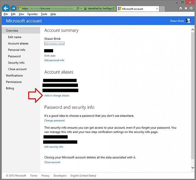 remove aliases for microsoft account