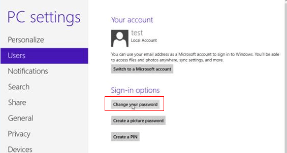 change windows 8 password