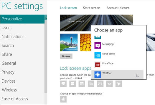 how to configure windows 8 lock screen Apps