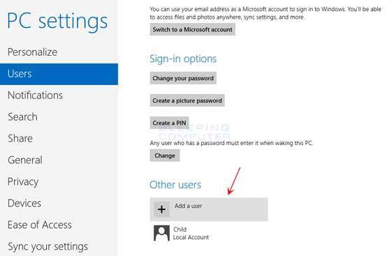 create a new user account in windows 8