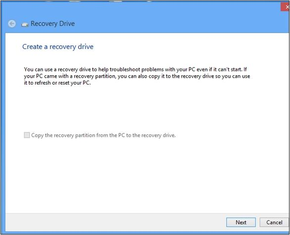 create a windows 8 recovery drive