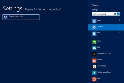 create system restore point in windows 8