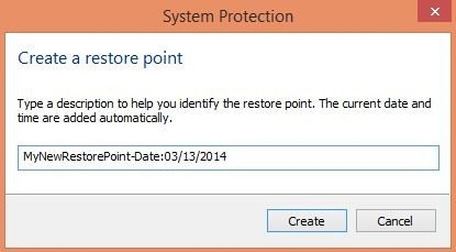how to create a manual system restore point in windows 8