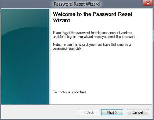windows 8.1 password reset wizard