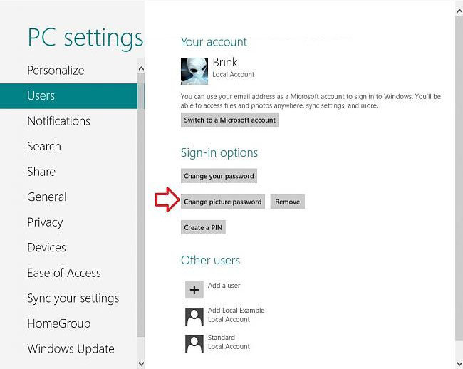 change windows 8 picture password