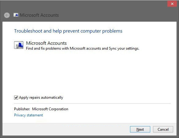 fix microsoft account issues in windows 8.1